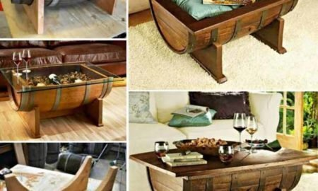DIY Whiskey Barrel Coffee Table